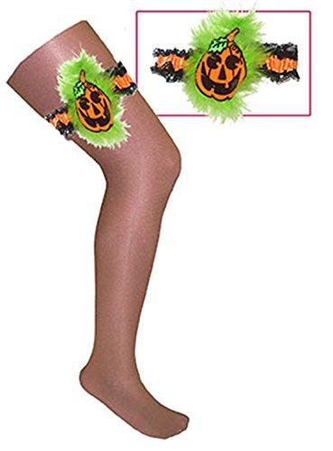Faschingsfete Damen Halloween Strumpfband Kürbis Plüsch Stretchband, -