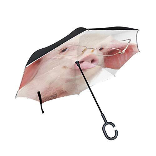 Karikatur Rosa Schwein Abnutzungs Brille Doppelschicht die Anti Uv Schutz wasserdicht winddichtes gerades Auto Golf umgekehrtes umgekehrtes Regenschirm Stand mit C förmigem Griff für den Auto Regen