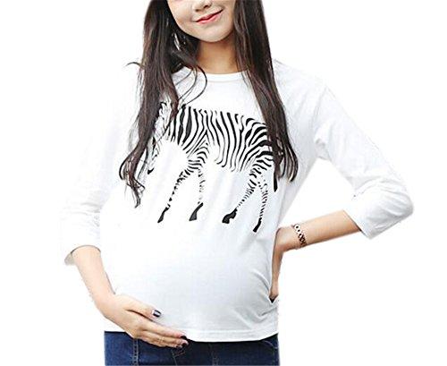 BESTHOO Umstands T-Shirt Damen 3/4-Arm Rundhals Umstandsmode Bauch Stretch Oberteil Zebra Gedruckte Top Modisch Beiläufige Blusen Stretch-zebra