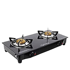 Lifelong LLGS09 Glass top Gas stove, 2 Burner Gas Stove, Black (1 year warranty with doorstep service)