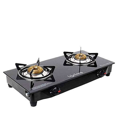 Lifelong LLGS09 Glass top Gas stove, 2 Burner Gas Stove, Black/Grey (1 year warranty with doorstep service)
