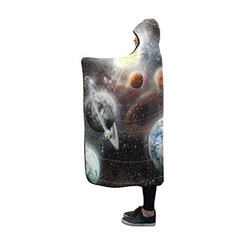 JOCHUAN Alien Planet Star System Space Blanket mit Kapuze 60 x 50 cm (Comfotable) Mit Kapuze Wurffolie Multi-satelliten-systeme