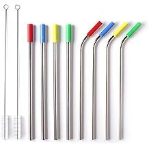 Pajitas de acero inoxidable reutilizables 8 juegos, pajitas de metal con 2 cepillos de limpieza