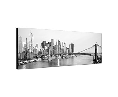 Wandbild schwarz weiß auf Leinwand als Panorama in 120x40 cm New York und Brooklyn Bridge Hängebrücke über den East River Manhattan Skyline in New York City! bestforhome Das Beste für Ihre Wand! -