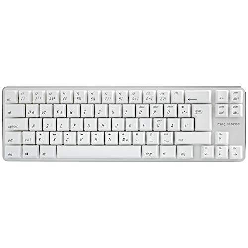 Qisan Kabelgebundene mechanische Gaming-Tastatur PBT-Tastenkappen 69 Tasten Gateron Brown Switch Weißes Hintergrundlicht DE QWERTY Layout Gaming-Tastatur-Weiß -