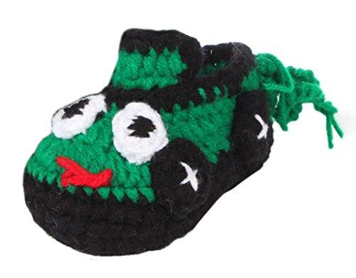 Bigood 1 Paar Strickschuh One Size Strick Schuh Baby Unisex süße Muster 11cm Dunkelgelb Dunkelgrün A