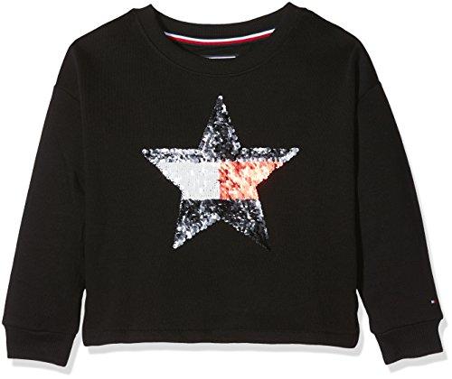 Tommy Hilfiger Mädchen Sweatshirt H Sequins Star CN HWK L/S, Schwarz (Black Beauty 055), 98 (Herstellergröße: 3)