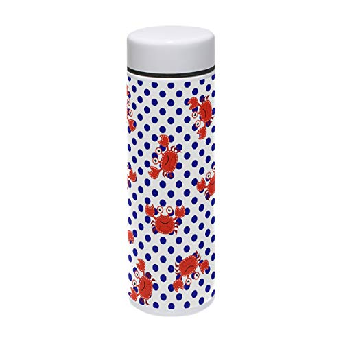 Tizorax - Termo de acero inoxidable para deportes al aire libre, camping, ciclismo, fitness, gimnasio, yoga, 220 ml, diseño de cangrejos rojos y lunares azules