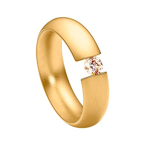 Heideman Damen-Ring elegantia gewölbt spannring gelbgold vergoldet Gr.62 mit Swarovski Stein champagné 4mm in Edelstahl (Spannring Diamant)