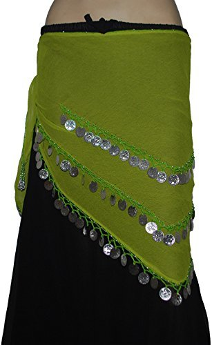 Wevez 3 Rows Belly Dance Costume Silver Coin Hip Scarf/Belly Dance Belt (Lime Green)