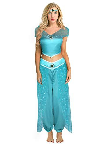 Agoky 3Pcs Damen Jasmin Prinzessin Kostüm Paillette Schulterfrei Ärmellos Top Hose Stirnband Set Karneval Cosplay Kostüme Blau Large
