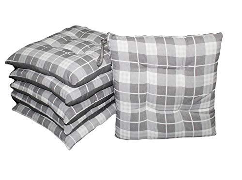Russo tessuti set 6 cuscini coprisedia imbottito sedie cucina tartan scozzese laccetti -grigio