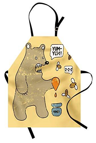 Cartoon-Schürze, niedlicher Karikatur-Art-Bär mit Bienen und Honig Sagen Yum Yum Kinder-Comic-Grafik, Unisexküchen-Latzschürze mit justierbarem Hals für das Kochen Backen-Gartenarbeit, ()