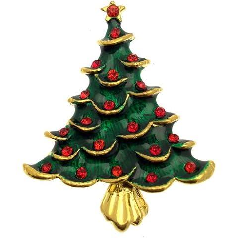 Acosta broches - esmalte verde y rojo cristal - árbol de Navidad con broche de oro - joyas regalo