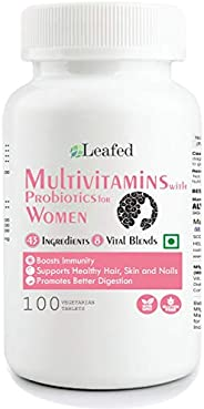 Leafed Multivitamin for Women with 43 Vital Nutrients, 8 Performance Blends - 100 Vegetarian Tablets