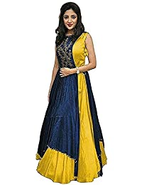 NEW FANCY PURE YELLOW COLOUR BEAUTIFUL LONG GOWN INDO WESTURN WITH NEVY BLUE TOP DRESS MATERIAL FREE SIZE SALWAR...