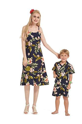 Hecho-en-Hawaii-Camisa-de-vestir-de-hijo-de-madre-a-juego-en-Azul-con-rosa-floral-XL-4