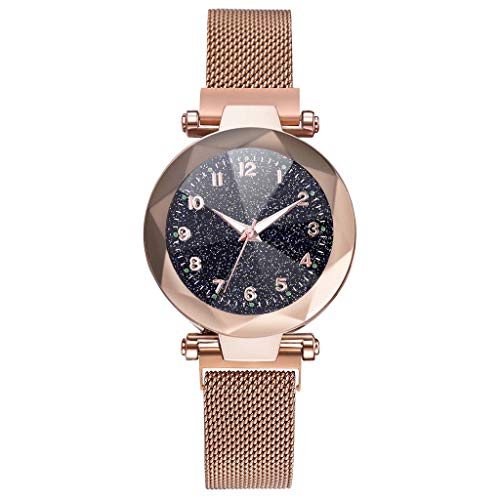 Zimuuy Damenuhr Frau Weise Sternenhimmel konvexen Glas Mesh Strap Quarz Armbanduhren Mode Schmuck (Roségold)