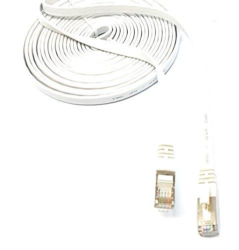 10,0m–flach–Cat. 7–Ethernet Gigabit LAN Netzwerkkabel (RJ45) | 10/100/1000Mbit/s–für Streaming | suhd TV | IPTV | Desktop-PC | Server | Laptops | Netzwerk Drucker | Halogen frei/10GBS–Hohe Qualität–Kompatibel mit Cat. 5/CAT. 5e/CAT. 6| Switch/Router/Modem/Patch Panel/Access Point/Patchfelder | weiß
