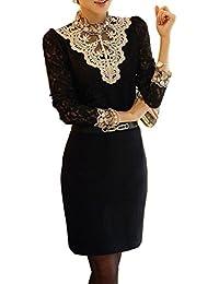 Dayiss®Chic OL Damenbluse Spitzenbluse Lace Hemdbluse Langarmshirts Perlen Stehkragen Tops in 2 Farben (XL, Schwarz)