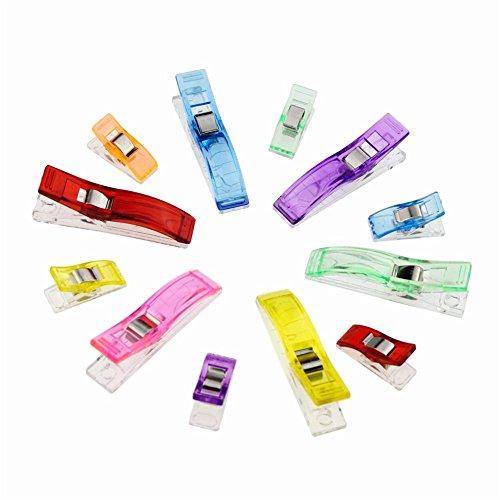 Candora® Nähklemmen, 100 Stück (25große und 75kleine), lebhafte Farben (Pistole Strass)