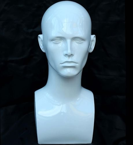 Forever Young White Glossy Professional Male Mannequin Head for Display Headset, Headphone, Game Console, Hats, Wigs Jewellery by Forever Young