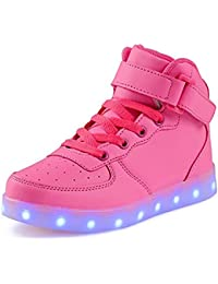 SPEEDEVE LED Scarpe High-Top USB Carica Lampeggiante Luminosi Sneakers Scarpe Sportivet-Bambino Adulto Unisex