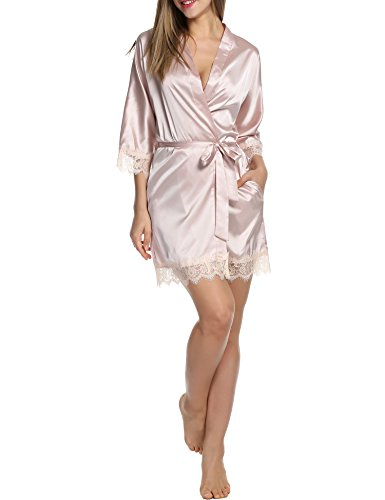 BeautyUU Damen Morgenmantel Kimono Bademantel Satin Nachthemd Nachtwäsche Schlafanzüge mit Blumenspitze