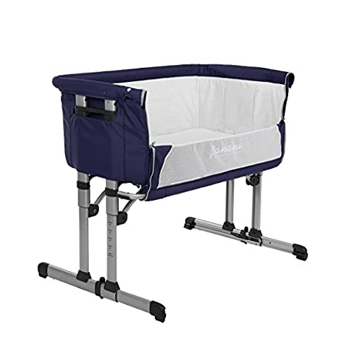 Pandamoto 2 in 1 Baby Bed Next To Me Side Sleeping Crib Fixed And Swing Function With Mosquito Net And Carry Bag (Blue)
