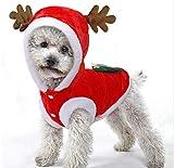 """Freebily Ropa de Perro Invierno Disfraz Navidad Perro Gato Abrigo Divertido para Mascota Perros Pequeños Chihuahua Yorkshire Terrier Rojo 11.0""""/28cm"""