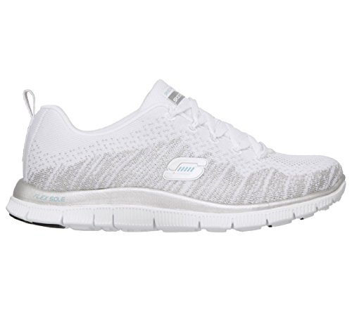 Skechers Flex Appeal instant Hit, Baskets Basses femme Bianco