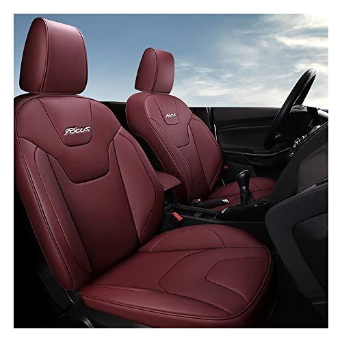 YXLcars Leder Sitzbezüge Auto for Ford Focus, Autositzbezüge Set voll Auto Vorderseite Und Rückseite, Autositzbezug Mit Kopfstütze Und Lendenkissen, 9-Teiliges Set (Color : Wine Red)