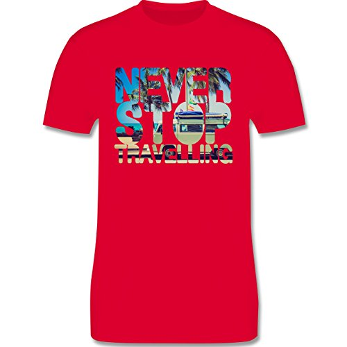 Statement Shirts - Never Stop Travelling Meer Palmen - Herren Premium T-Shirt Rot