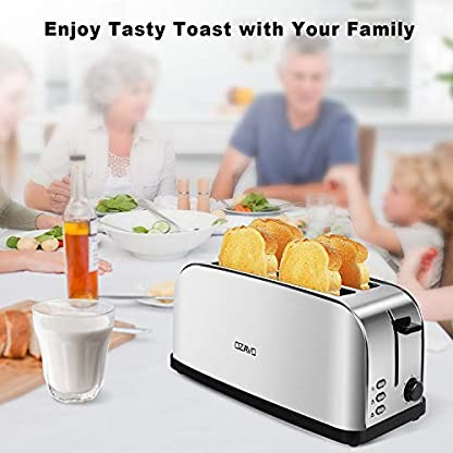 OZAVO-Edelstahl-Toaster-4-Scheiben-2-Langschlitz-Abnehmbare-Brtchenaufsatz-und-Krmelschublade-7-stufig-einstellbarer-Brunungsgrad-1500Watt