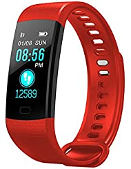 Y5 Fitness Tracker avec Moniteur de Sommeil Moniteur Couleur écran Bluetooth Bluetooth Smart Watch activité Tracker Compteur de Pas étanche et Compteur de Calories pour Android iOS (Rouge)