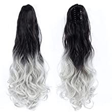 AUConer Black and Silver Grey 19 inch Long Hair Ponytail extension Claw Clip Hairpiece Ponytail Extensions in party wedding cosplay-instant hair transformation (19inch Curly, Black with Light Grey)