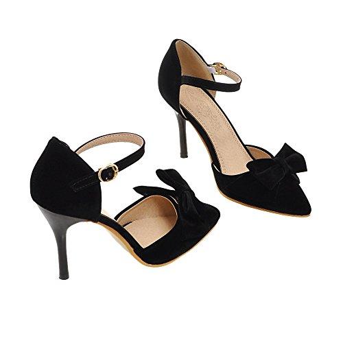Guoar Stiletto Große Größe Damenschuhe Spitze Zehen D'Orsay&Two-Piece Pumps zum Schnüren C-Schwarz