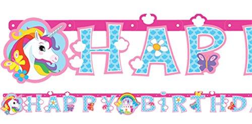 erdbeerloft - Party Dekoration- Einhorn Banner, Girlande Happy Birthday, Mehrfarbig (Einhorn Happy Birthday Banner)