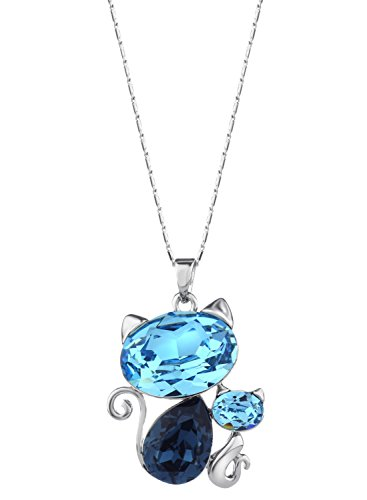 ❤regalo di san valentino❤ swarovski elements in cristallo blu collana con ciondolo a forma di gatto placcata platino in gift box neoglory jewellery