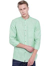 d6738c82032 Men s Green Linen Cotton Band Collar Regular FIT Shirt