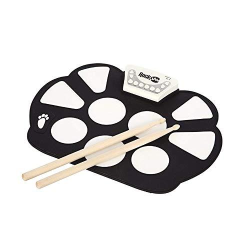 Zgsjbmh Tragbares elektronisches Schlagzeug E-Drum Set Übungs-Drum mit Drum-Sticks Rolled Drum Set mit Aufnahmefunktion Anfänger Kinder Kinder rumsticks für Kinder, Anfänger,Schlagzeuger