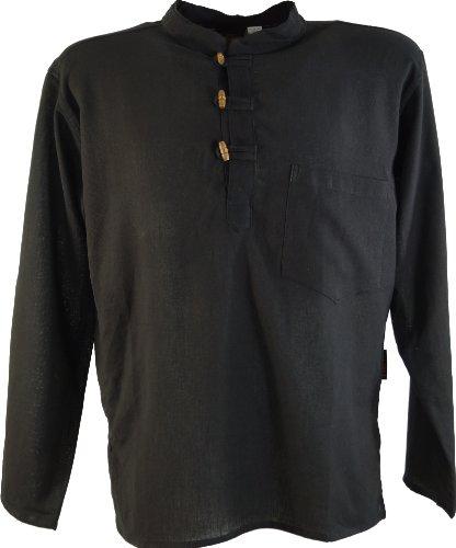 Guru-Shop Nepal Fischerhemd Goa Hippie, Herren, Schwarz, Baumwolle, Size:M, Männerhemden Alternative Bekleidung