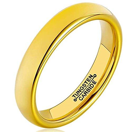 Bishilin Wolframcarbid Männer Ringe Wolframcarbidring Hochglanzpoliert Rund Breite 4MM Partnerring Ehering Ringe Gold Große 56 (17.8) (Gold Füllen Ehering)