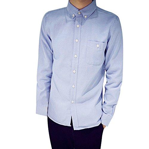 Xmiral Camicia da Cerimonia - Corsetto - Classico - Maniche Lunghe - Uomo-Camicie per T-Shirt da Uomo Slim Fit (L,Blu)
