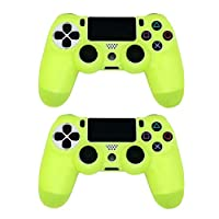 Tenthree Handle Silicone Case - Soft Grip Protective Cover for Sony PS4 Controller Rubber Case Handle Grip Sets of 2 Yellow