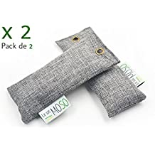 Le Sac MOSO–Ambientador para zapatos, purificador de aire, desecante, natural y sin olor, carbón de bambú, versión zapatos 50g, paquete de 2
