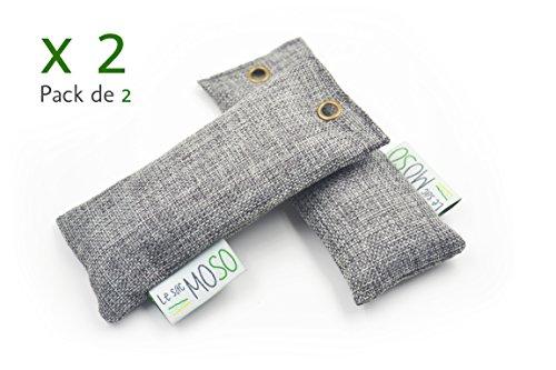 Le Sac MOSO–Deodorante per scarpe, Purificatore d'aria, Deumidificatore, naturale e senza odore, al carbone di bambù,Versione per Scarpe, 50g,confezione da 2