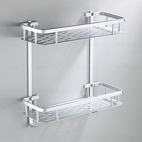 Duschregal, rechteckig, Chrom, Duschregal aus Aluminium, Dusch-Organizer zur Wandmontage für Badezimmer, Küche, Double-deck With Hooks, 2 Ablagefächer