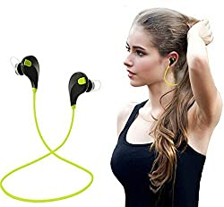 SCORIA Wireless Sports Headphones with Mic Compatible with iPhones , iPads, Samsung and others Green Color JOGGER