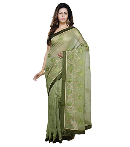 Vedika Creations Green Colour Supernet Saree Fancy Sari